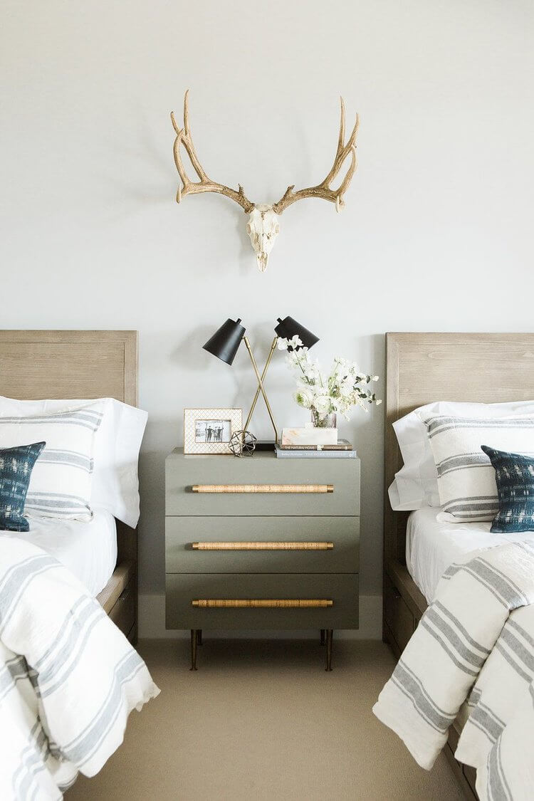 Contemporary Southwest Gray, White and Brown Bedroom