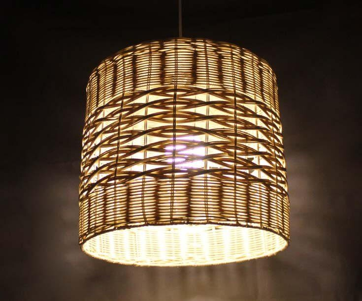 Two Different Weaves Light a Rattan Lamp