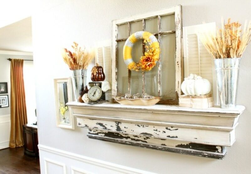 Robust Mantel Shelf With Antique Collection