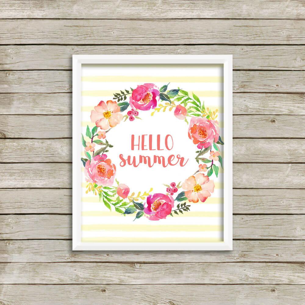 """""""Hello Summer"""" Watercolor Wreath"""