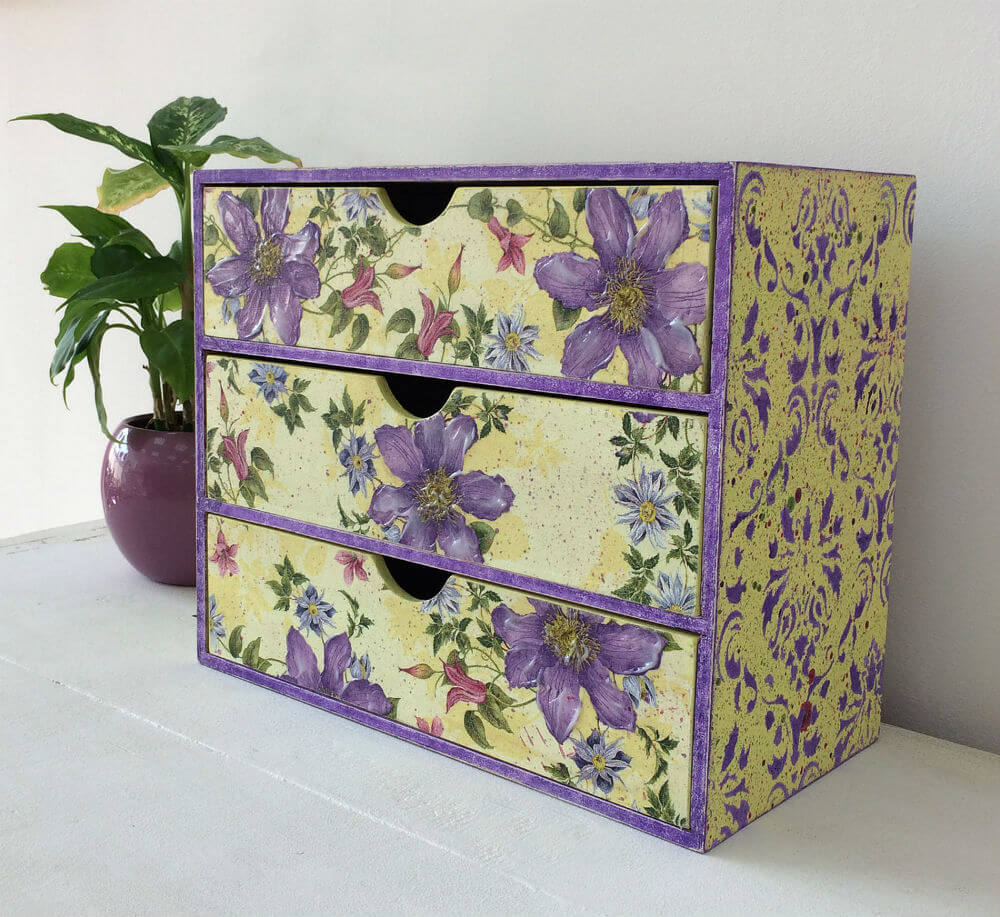 Vintage Jewelry and Makeup Box with Florals