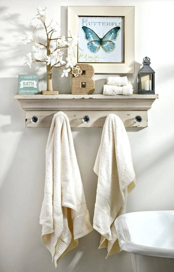 Mantel Shelf With Moulding and Crystal Knobs