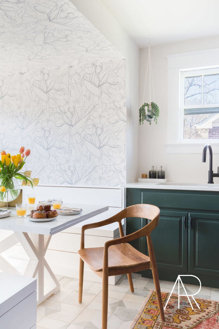 White Patterned Wallpaper and Forest Green Cabinets