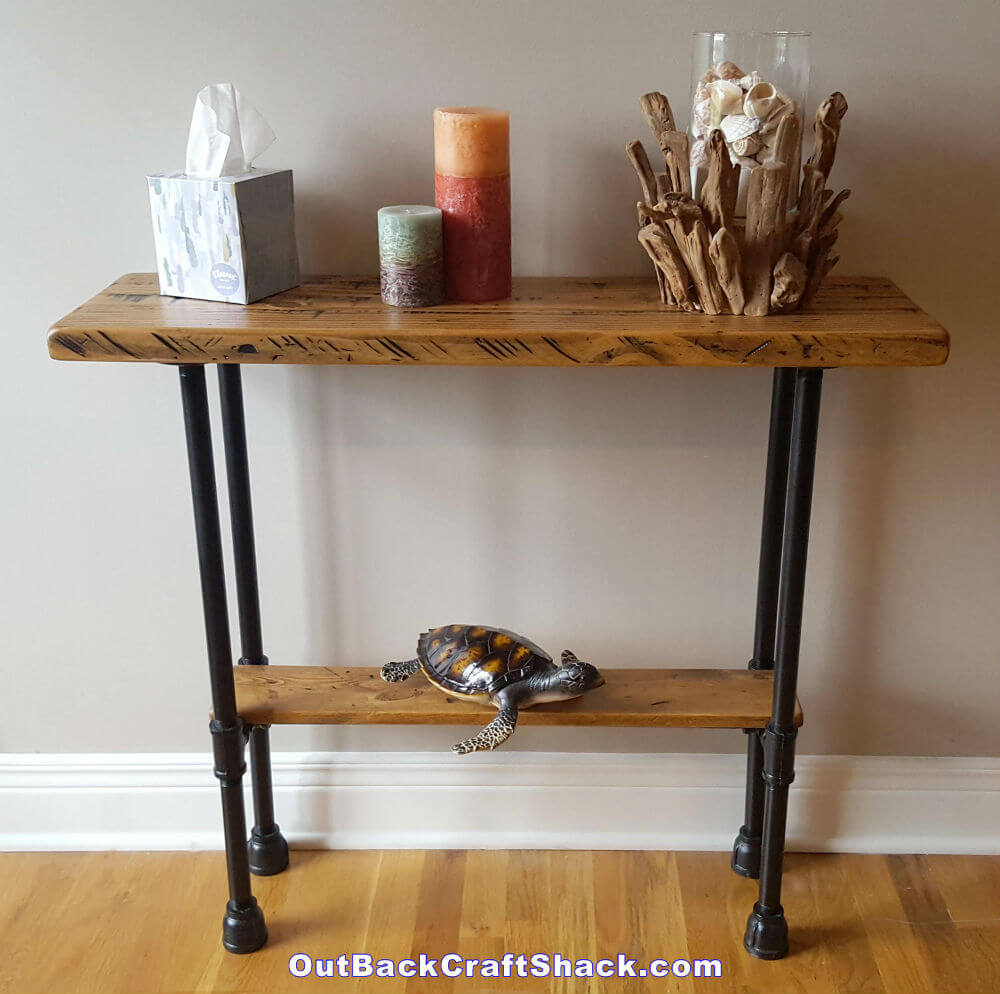 Distressed Wood and Black Pipe Entryway Table