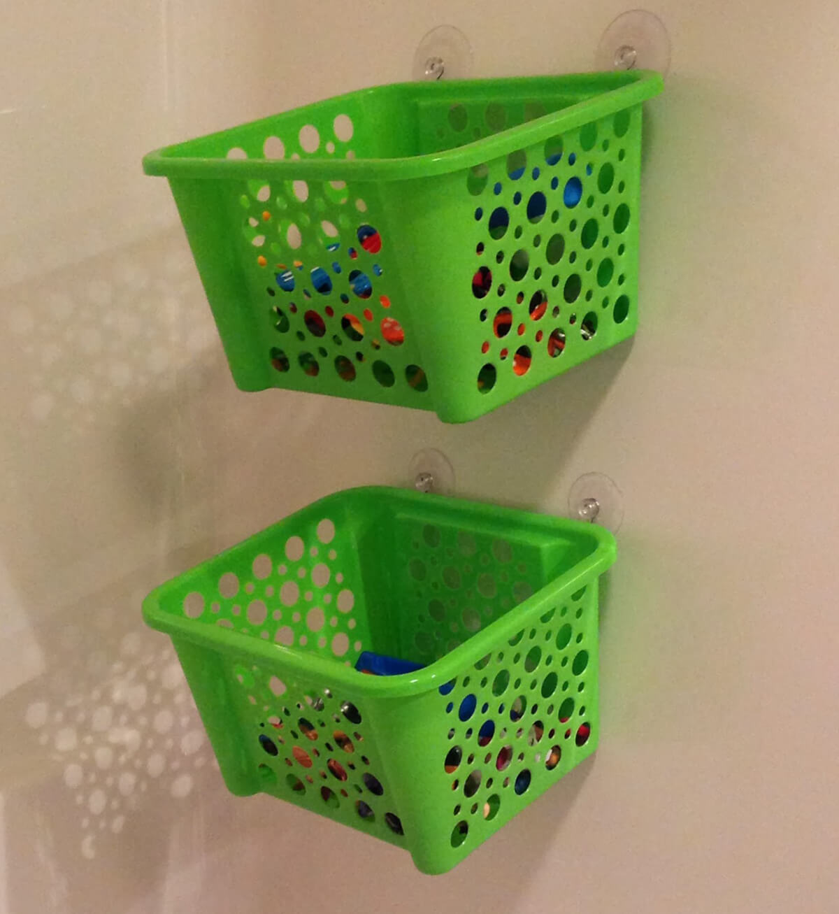 Plastic Basket and Suction Cup Shower Storage