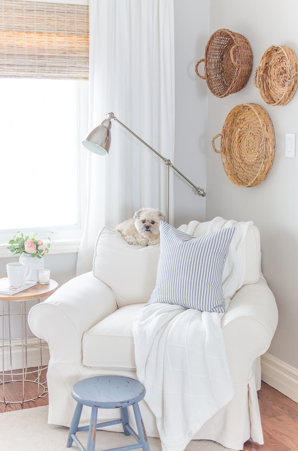 Soft Gray Walls, White Linens, Woven Accents