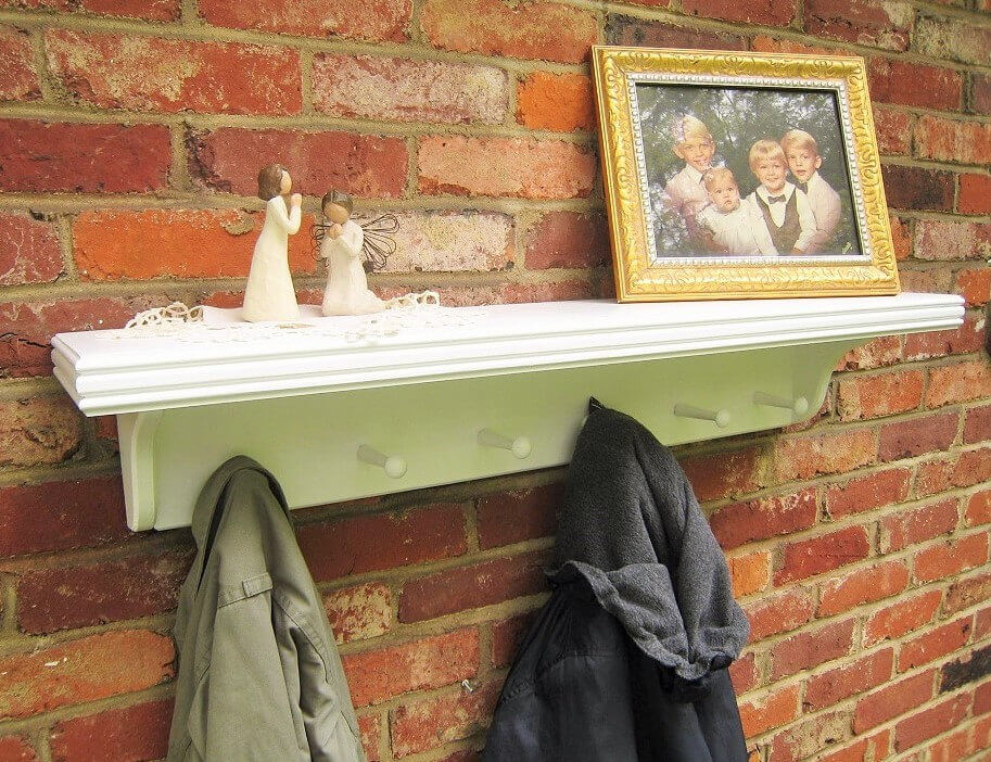 Shaker Style Wooden Shelf and Hooks