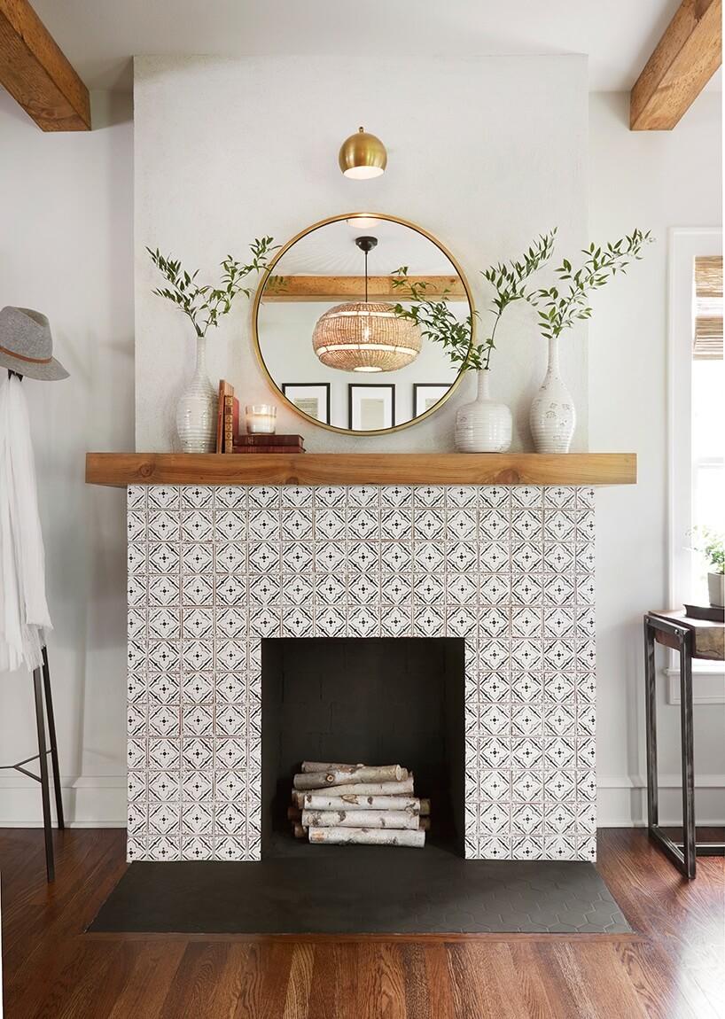 B&W Tile Fireplace, Raw Wood, Simple Greenery