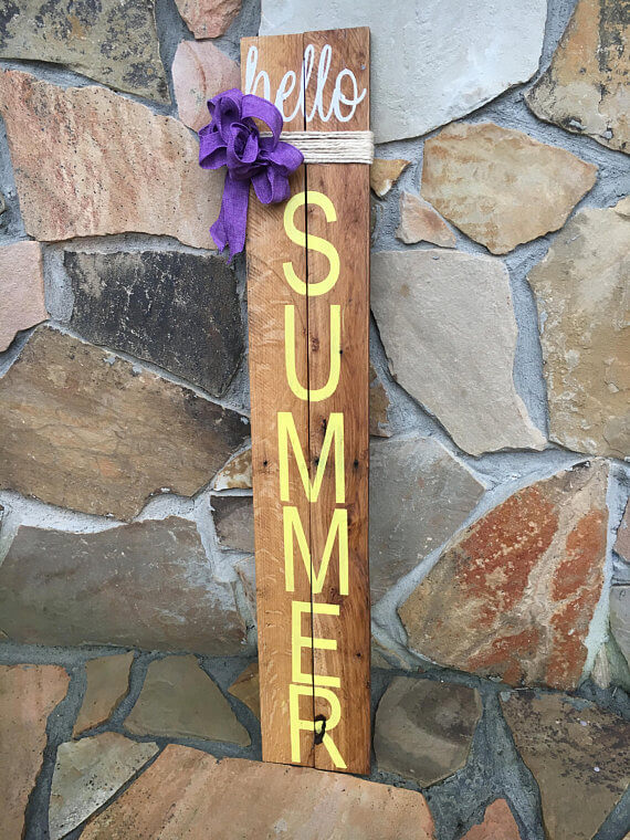 "Reclaimed Wood ""Hello Summer"" Sign"