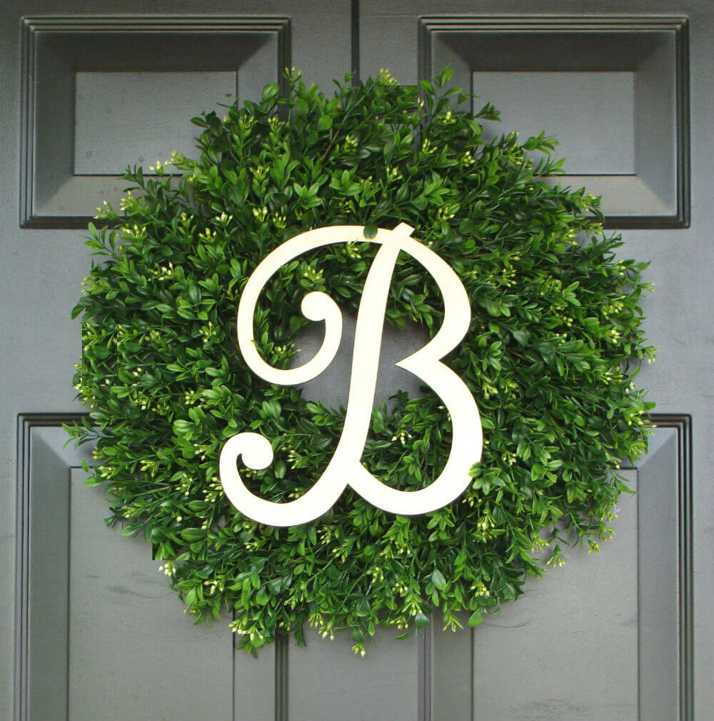 Monogram Boxwood Wreath