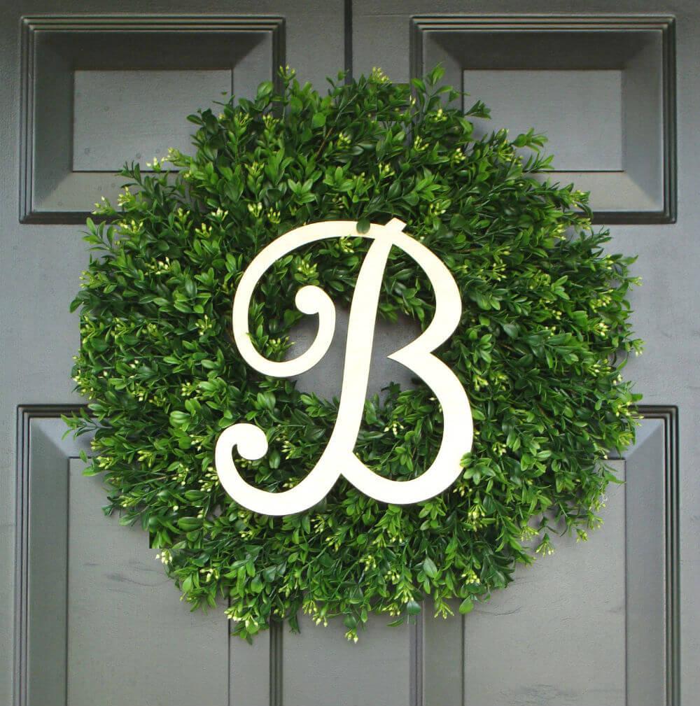 Monogram Boxwood Wreath