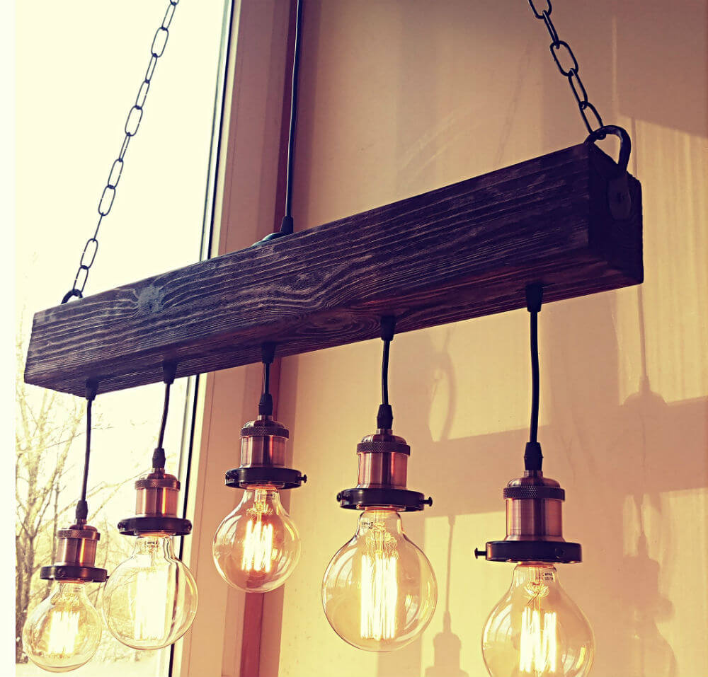 Antique Brass Sockets and a Reclaimed Wooden Beam