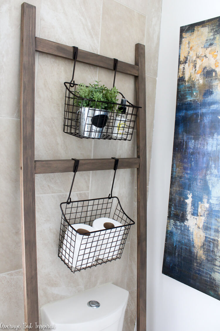Wooden Ladder Floating Storage With Wire Baskets