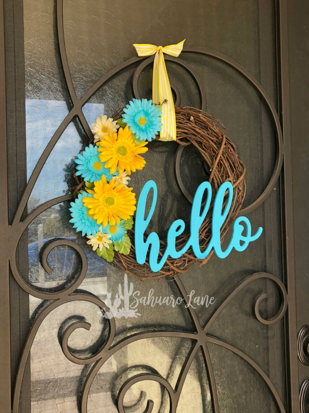 Turquoise and Yellow Daisy Wreath