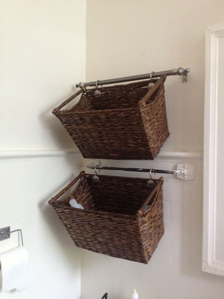 Wicker Basket Organization Idea for Small Spaces