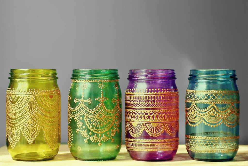 Moroccan Hand-painted Mason Jar Lanterns