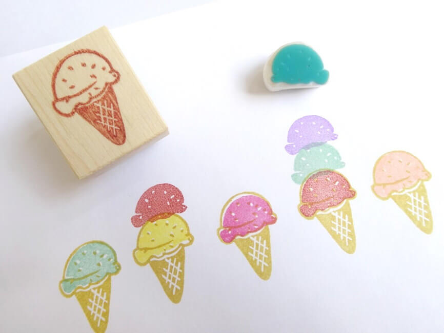 Sweet Ice Cream Rubber Stamp
