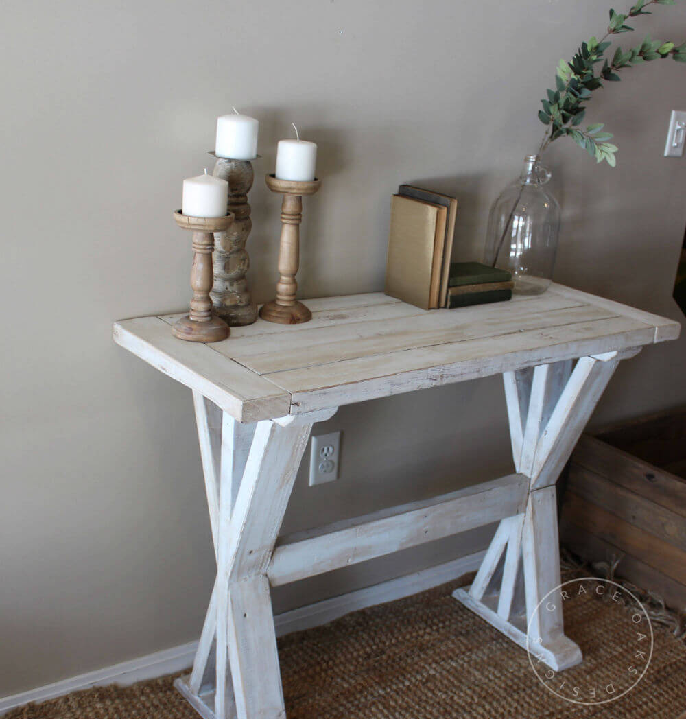 X-Base Pedestal Farmhouse Entry Table