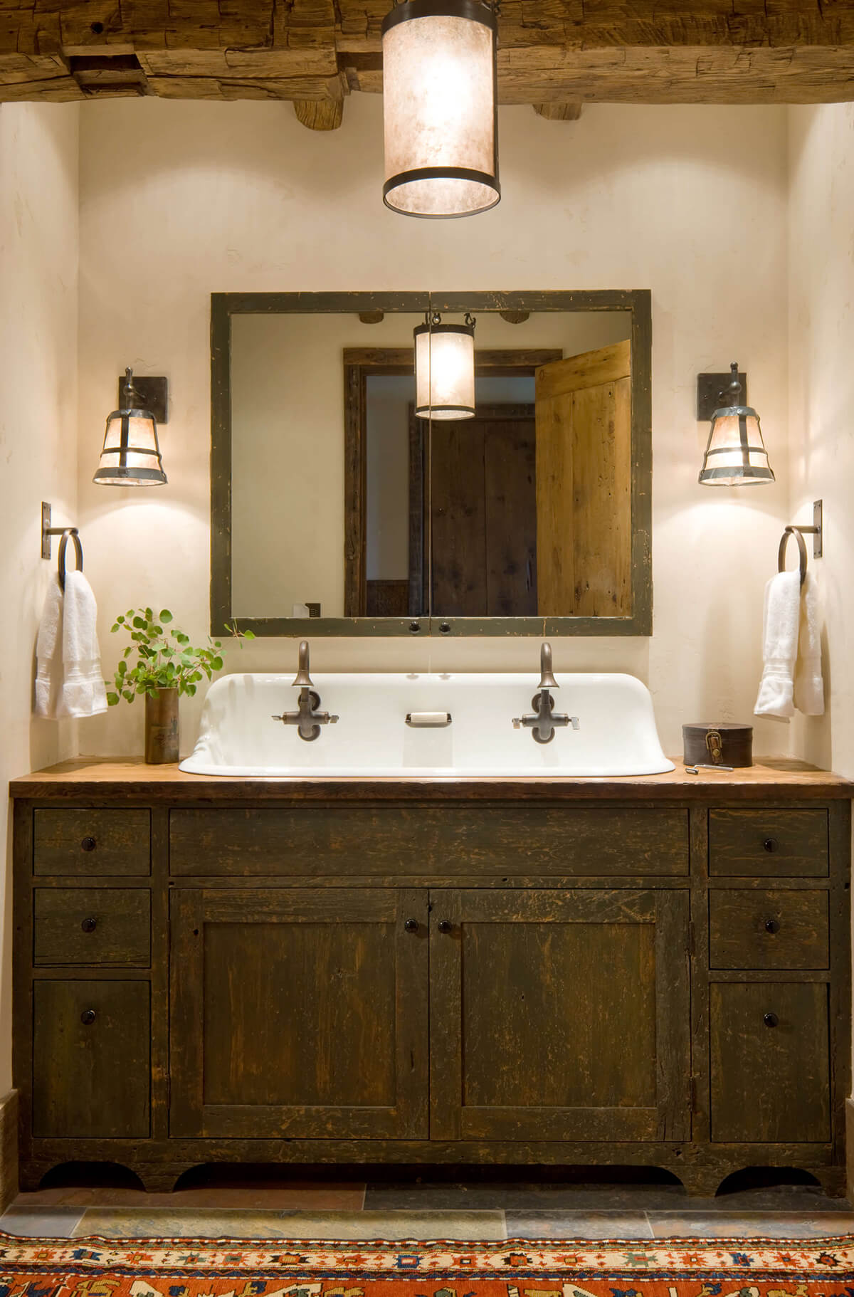 Large Dark Wood Bathroom Idea