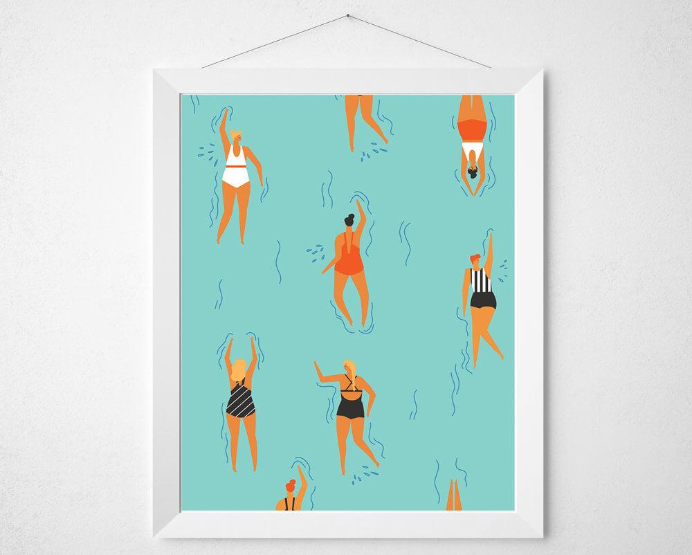 Retro Swimmer Print