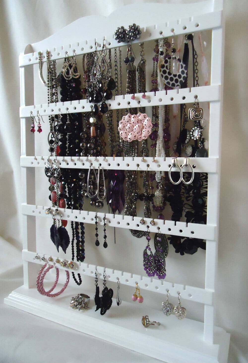 Wooden Jewelry Organizer with Stub Earring Holes