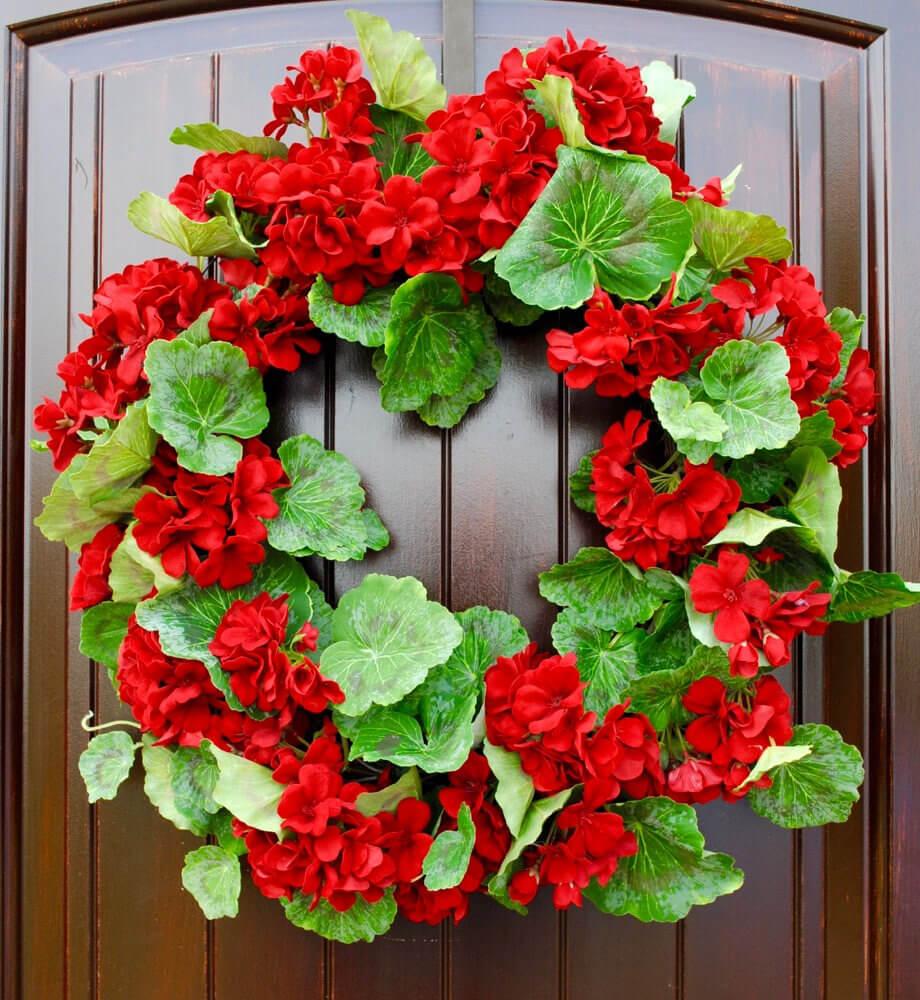 Vibrant Red Geranium Wreath