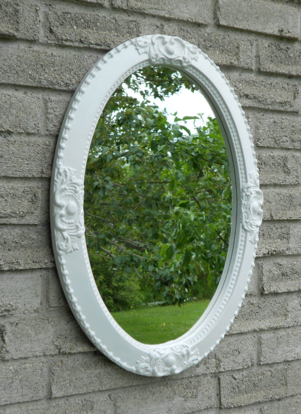 Shabby Chic White Framed Mirror