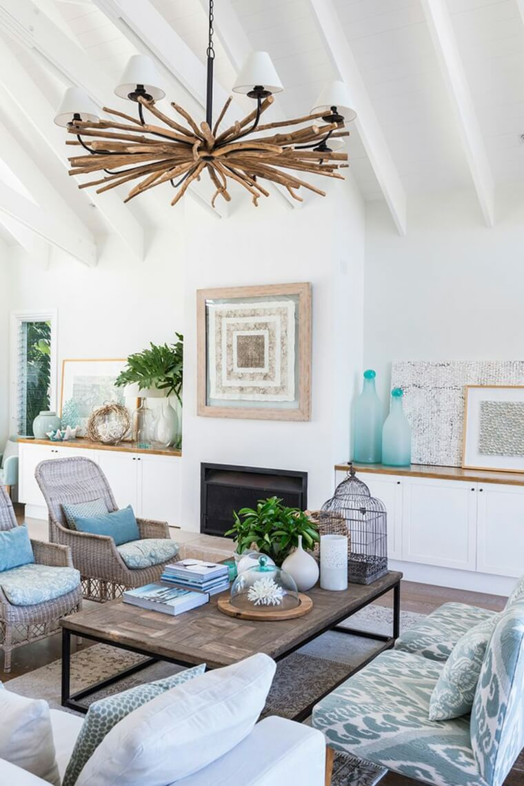 Coastal Living Room with Aqua Details