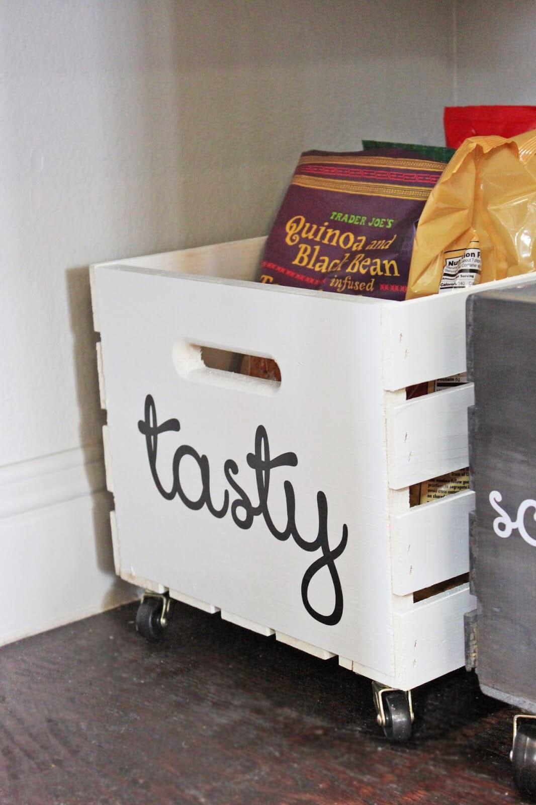 White Wooden Portable Storage Baskets