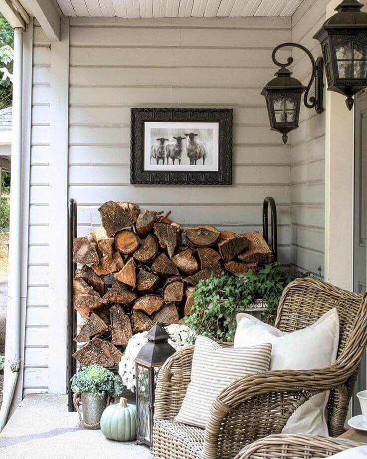 Woodpile Wall Accent With Natural Wicker