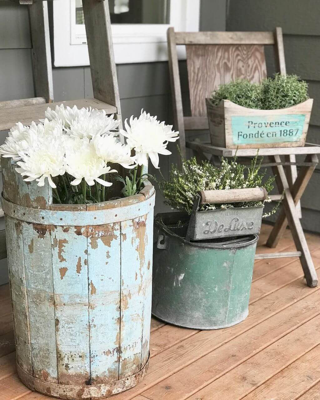 Iron And Distressed Wood, Found Object Planters