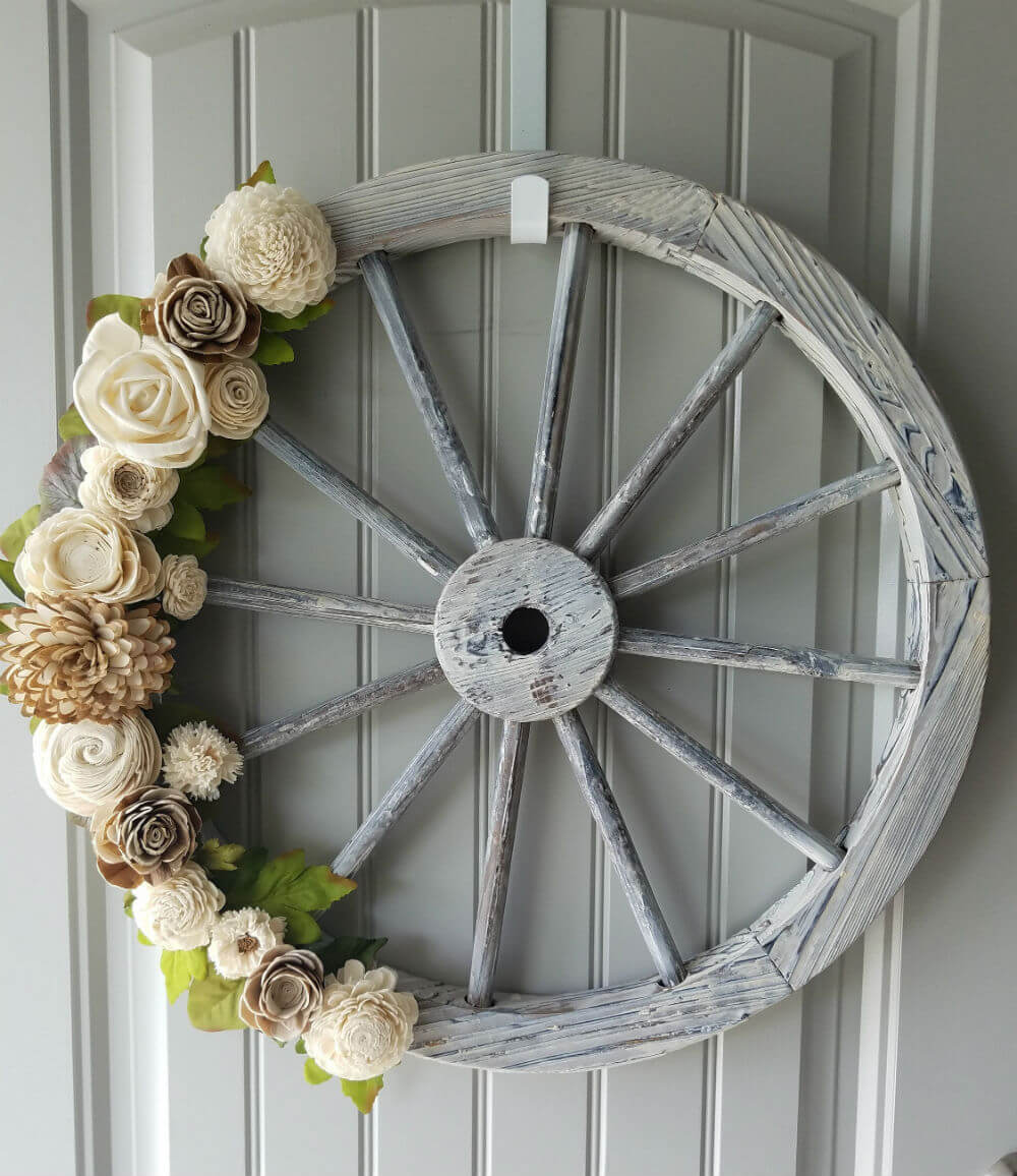 Wooden Wagon Wheel Decorative Wall Hanging Room Decor Wall Sculptures