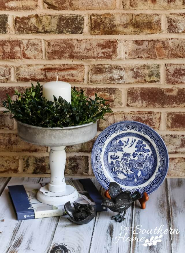 DIY Distressed Candle Holder with Greenery