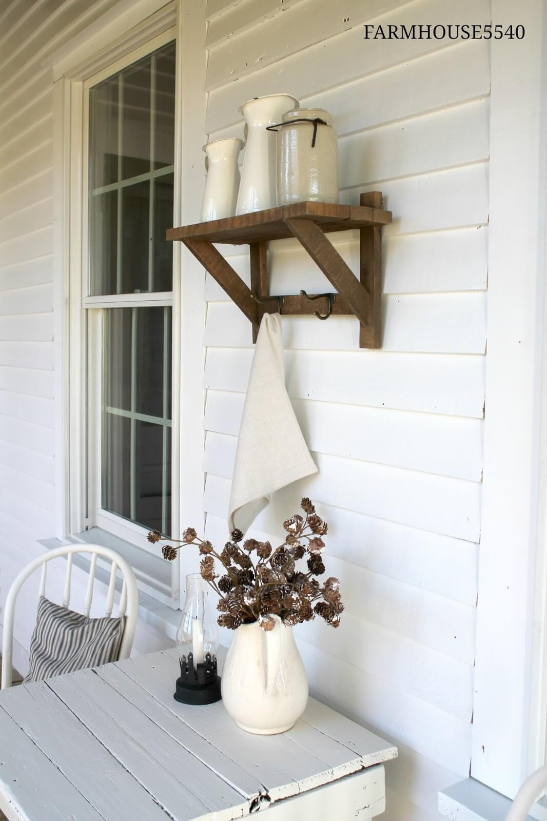 White Glass And Ceramic With Distressed Wood
