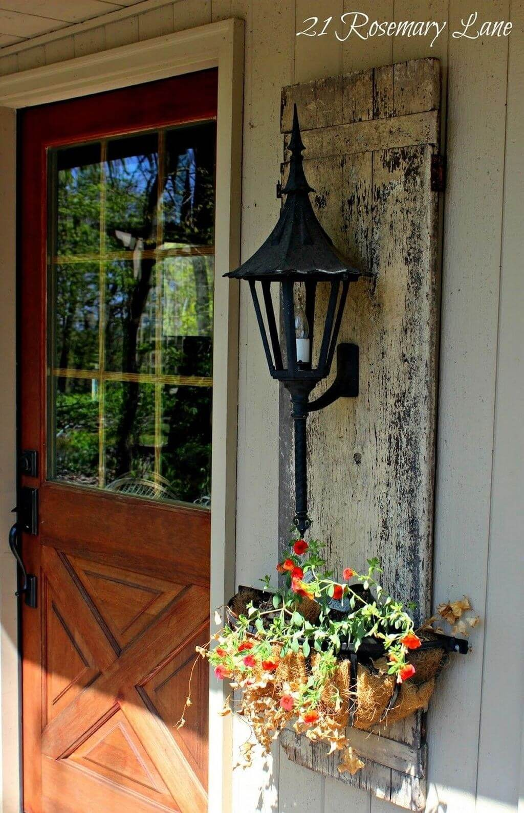 Shutter Style Aged Wood Lantern And Planter