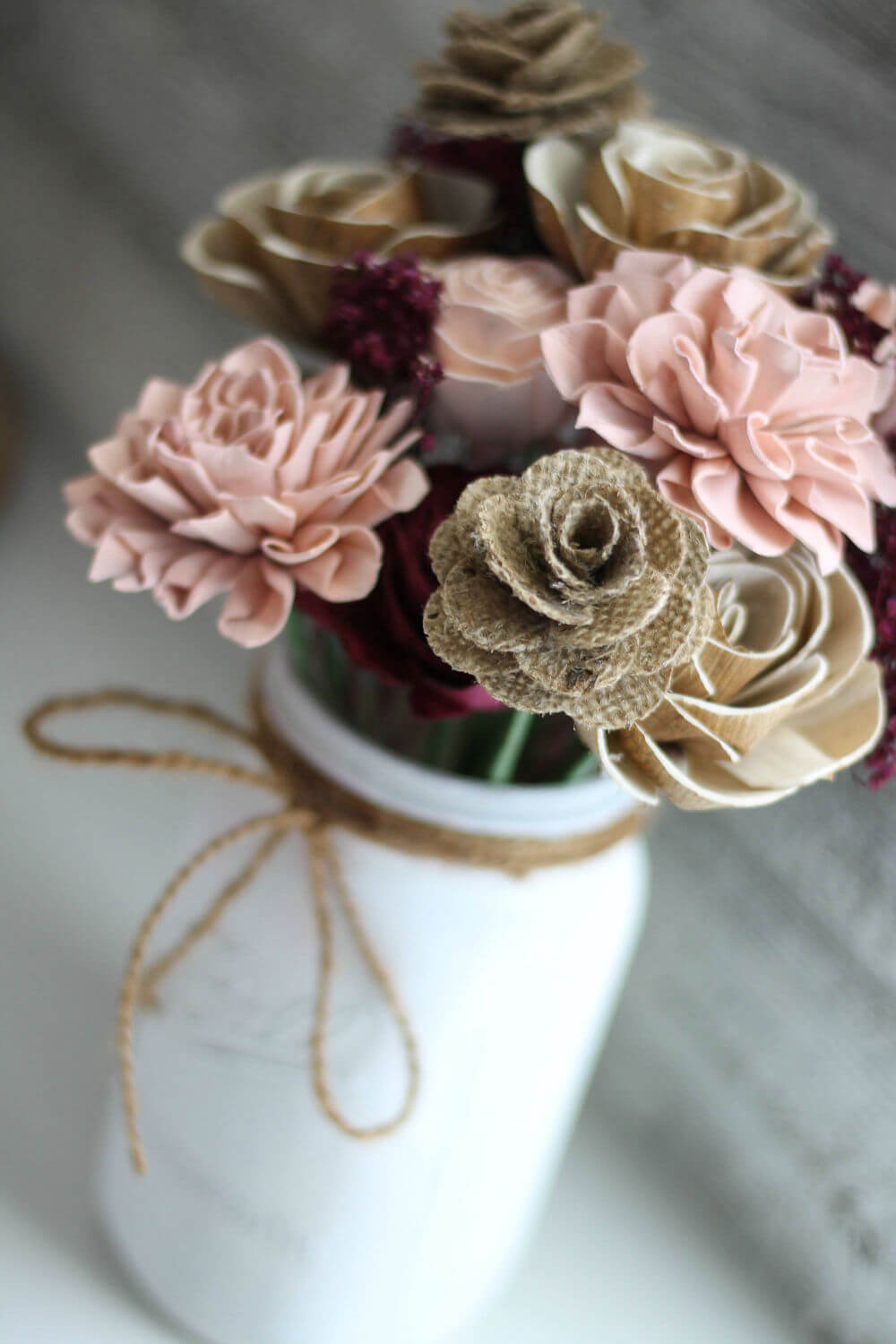 Farmhouse-Themed Burlap and Sola Wood Forever Flowers