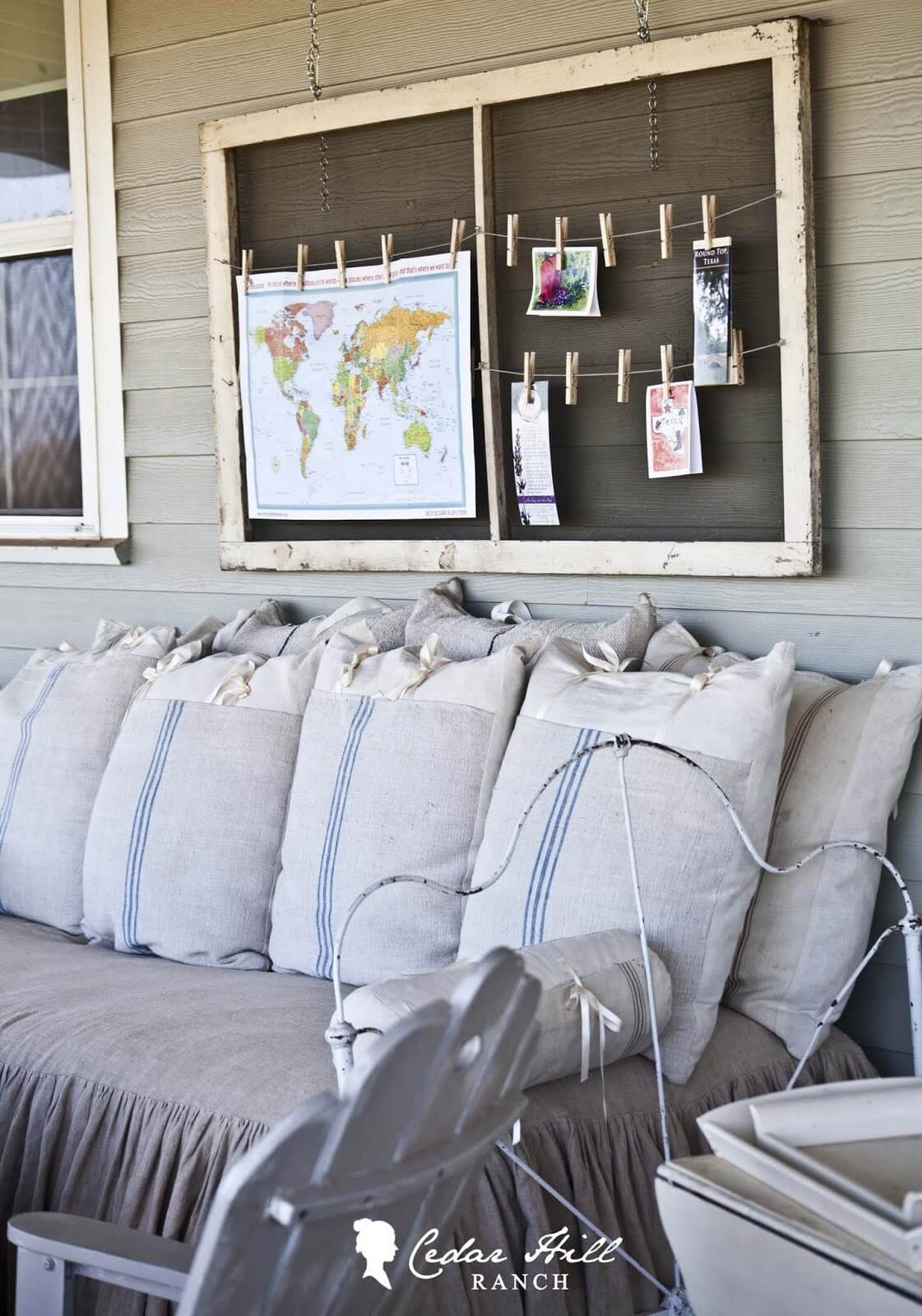 Vintage Screen Frame With Burlap Pillows