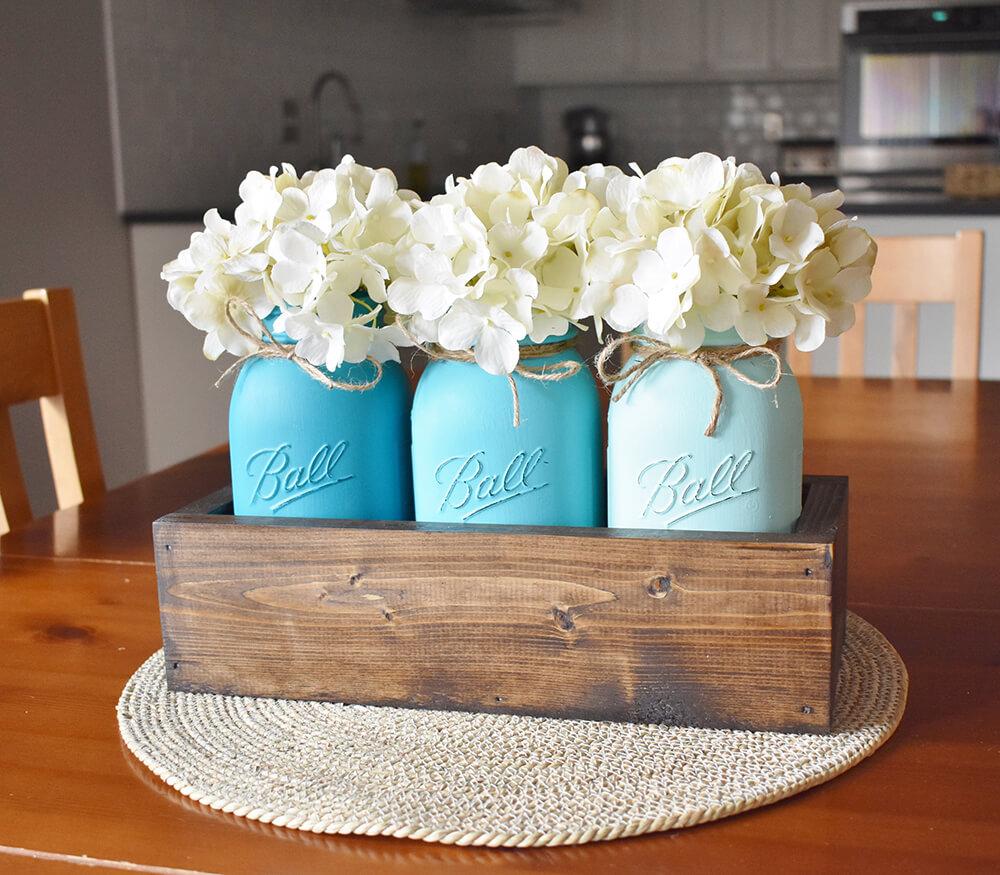 Coastal Farmhouse Mason Jar Centerpiece Homebnc