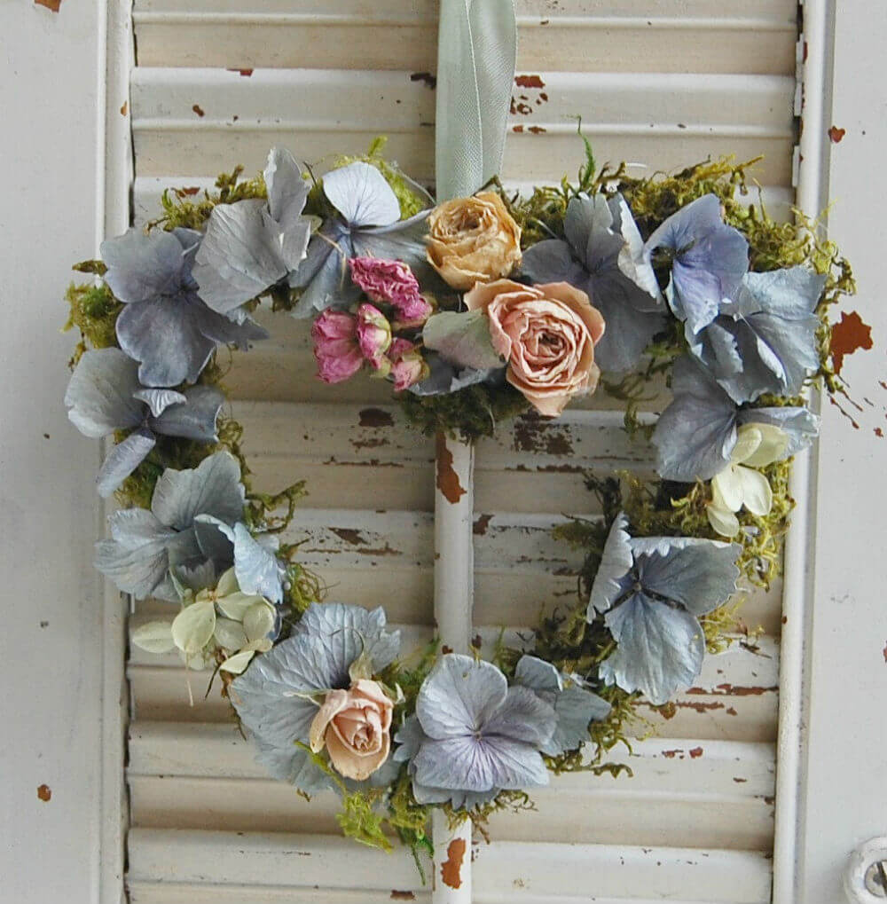 Charming Dried Floral Heart Wreath