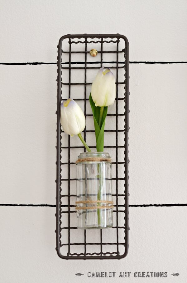 Small Hanging Flower Pot With Iron Basket Accent