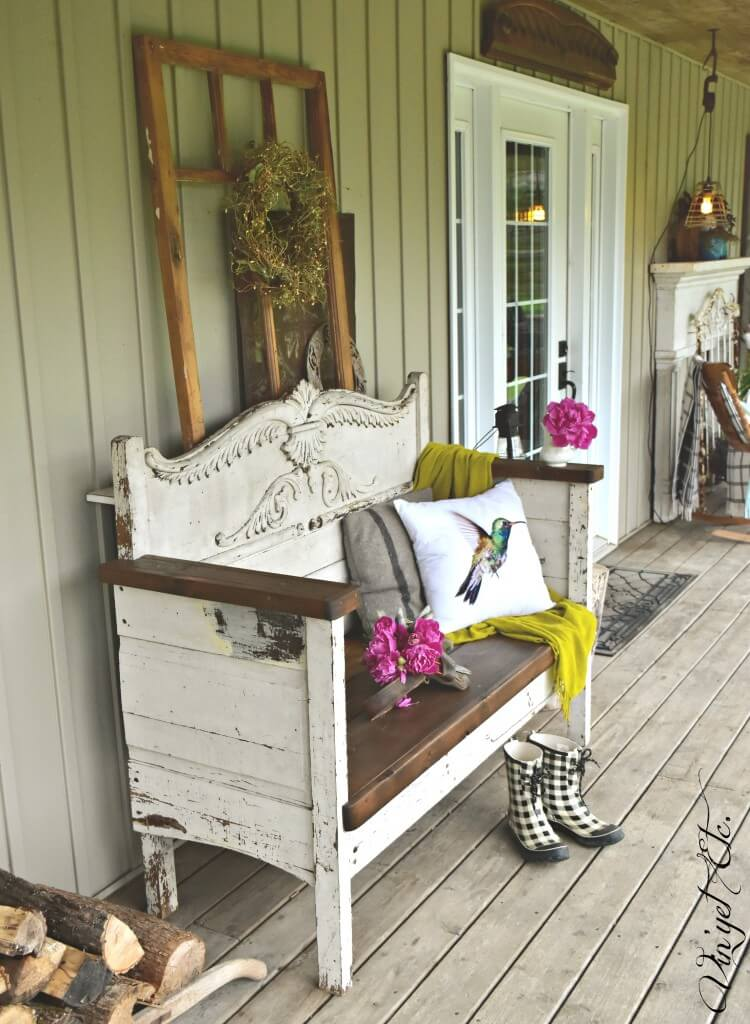 Vintage Upcycled Headboard Porch Bench