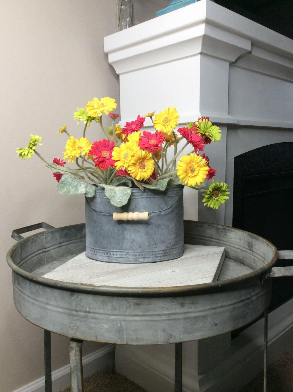 Bright and Summery Galvanized Bucket Bouquet