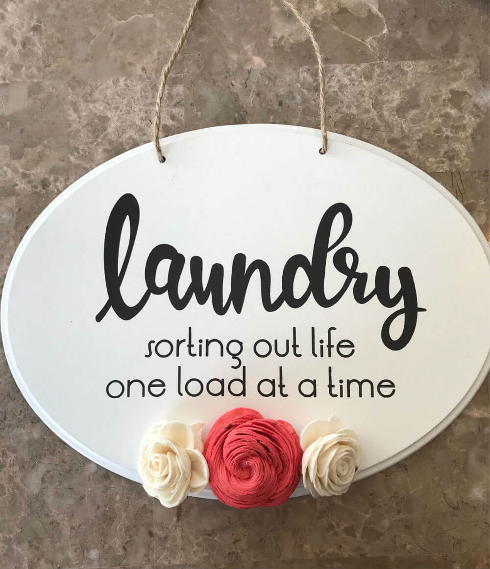 Handcrafted Laundry Sign with Pretty Wood Flowers