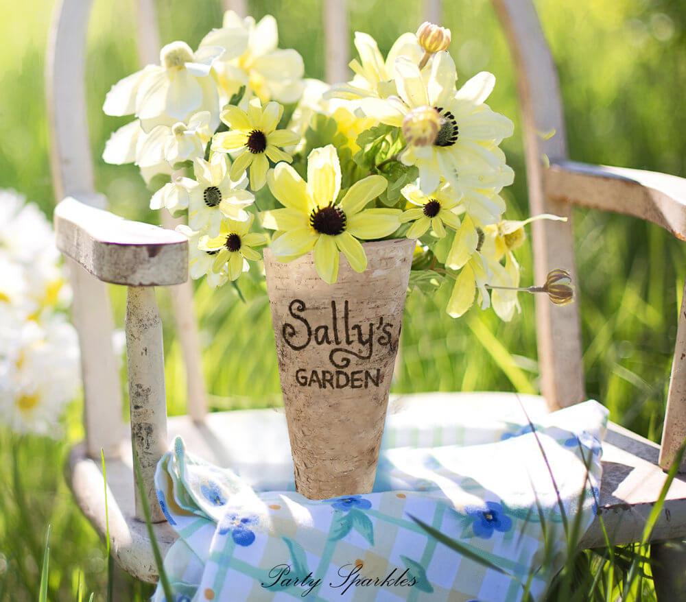Farmhouse Garden-Inspired Customized Birch Vase