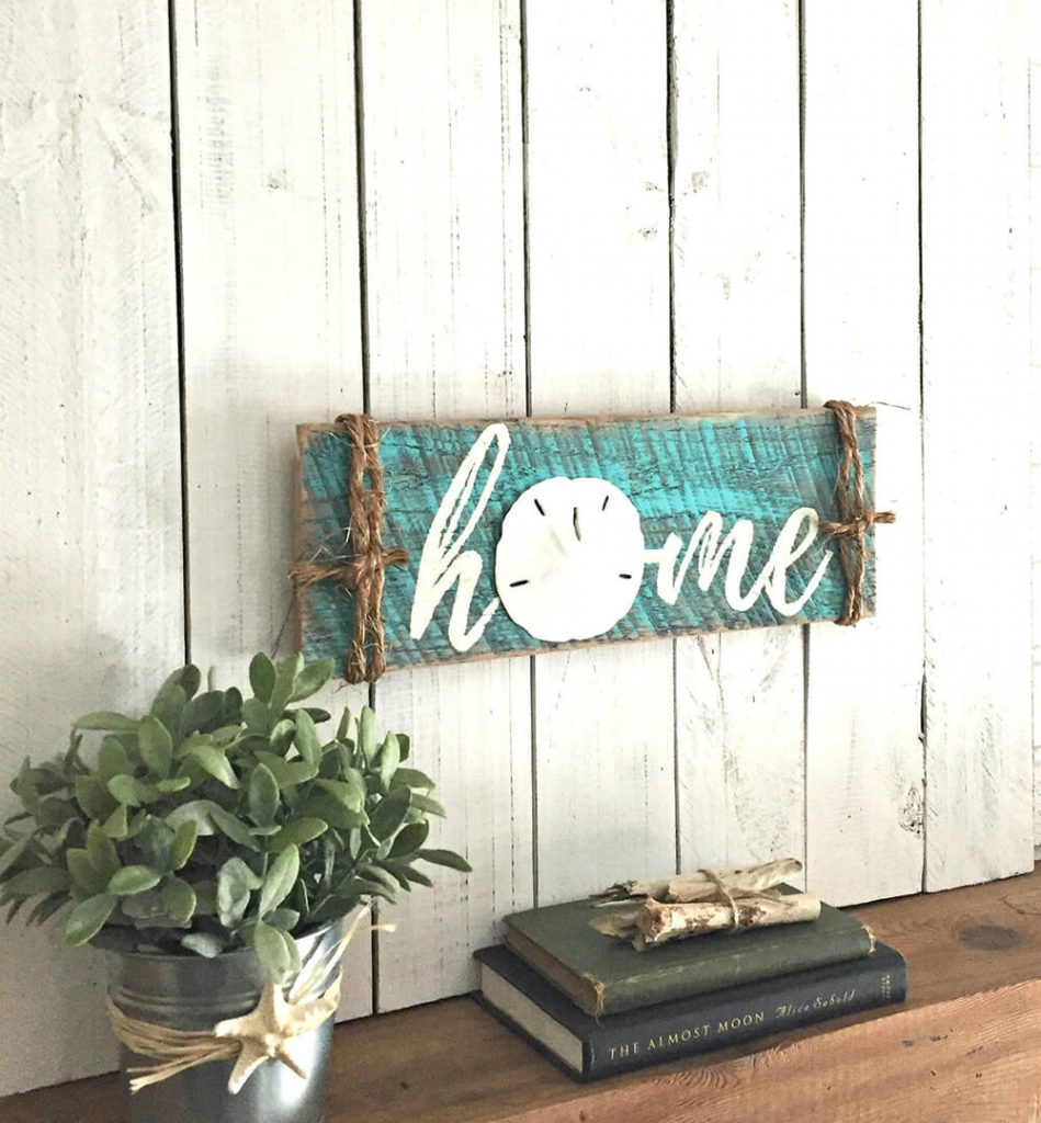 Rustic Coastal Sand Dollar Home Sign