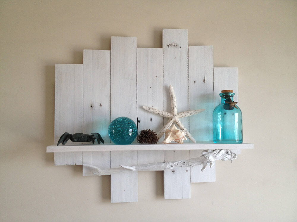 Reclaimed Wood Shelf with Driftwood