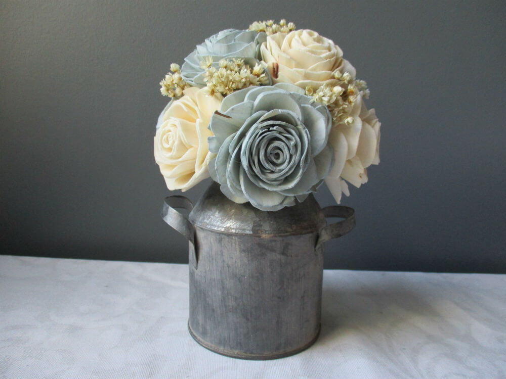 Soft Sola Wood Bouquet in a Sturdy Metal Vase