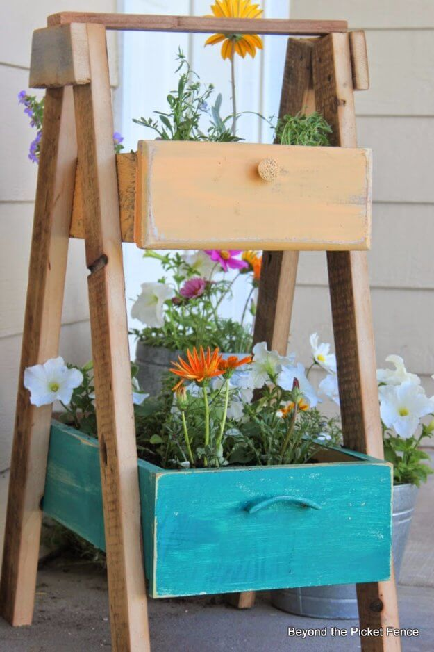Upcycled Wooden Drawer Planter Stand