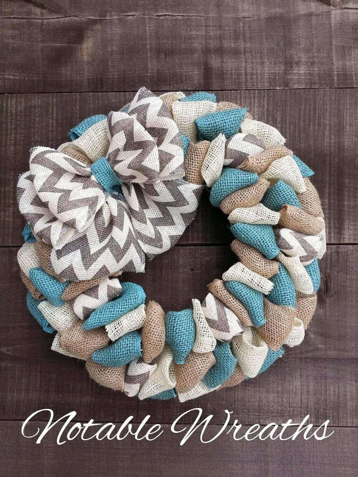 Coastal Farmhouse Burlap Fabric Wreath Homebnc