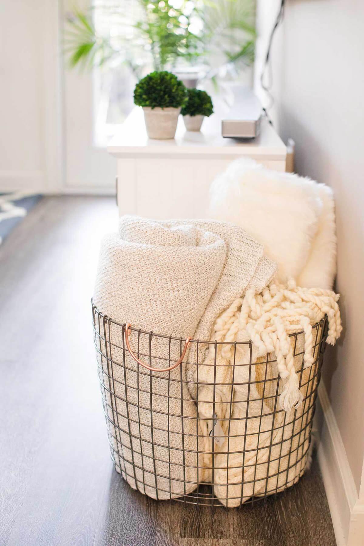 Metal Floor Towel And Storage Basket